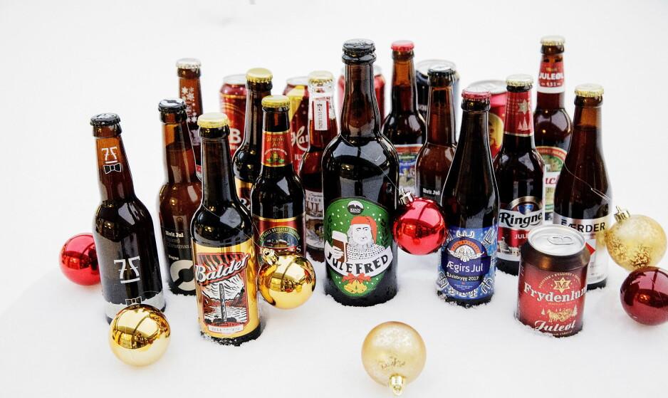 STORT UTVALG: Dagbladets smakspanel har blindtestet juleøl med butikkstyrke, og ble begeistret for kvaliteten.