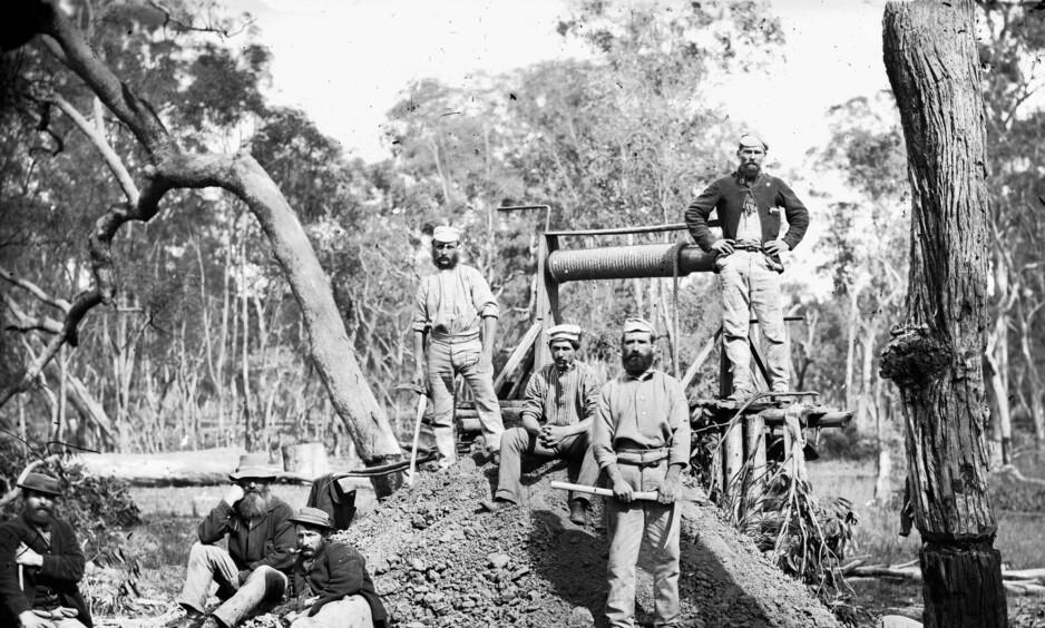 Inn i det ukjente: Gullfeltene i Victoria og New South Wales bød på hardt arbeid, men lite gull for de norske eventyrerne. Foto: Wikimedia Commons