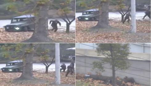 DRAMA: Her flukter soldaten Oh fra Nord-Korea til Sør-Korea. Han er blitt gjenstand for mye internasjonal oppmerksomhet etter å ha hoppet av Nord-Korea. Foto: United Nations Command via AP/NTB Scanpix