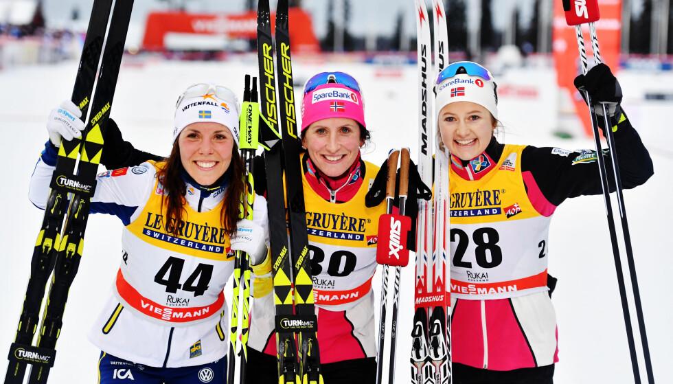 PALLEN: Charlotte Kalla, Marit Bjørgen og Ingvild Flugstad Østberg. Foto: Bildbyrån