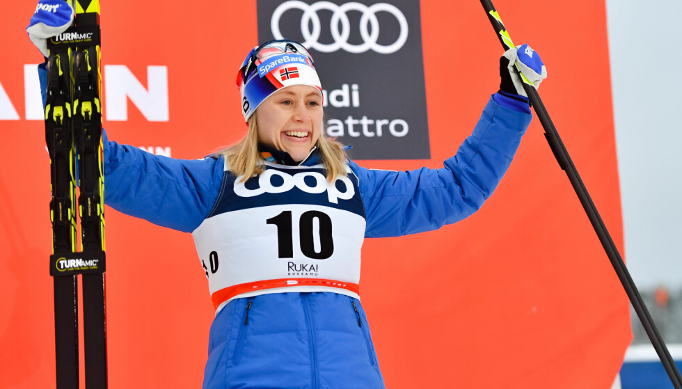 FØRSTE VERDENSCUPSEIER: Ragnhild Haga tok sin første verdenscupseier søndag, selv om hun ikke kom først i mål. Foto: Bildbyrån