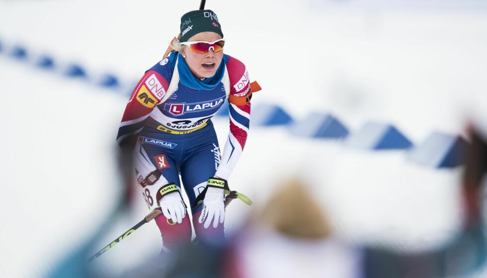 BOMMET: Hilde Fenne bommet mye på dagens mixed skiskytterstafett i Østterike. Foto: Berit Roald / NTB scanpix