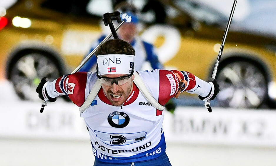 VANT: Emil Hegle Svendsen sikret norsk seier, tross tre bom på siste stående. Foto: Robert Henriksson / TT News Agency / NTB Scanpix