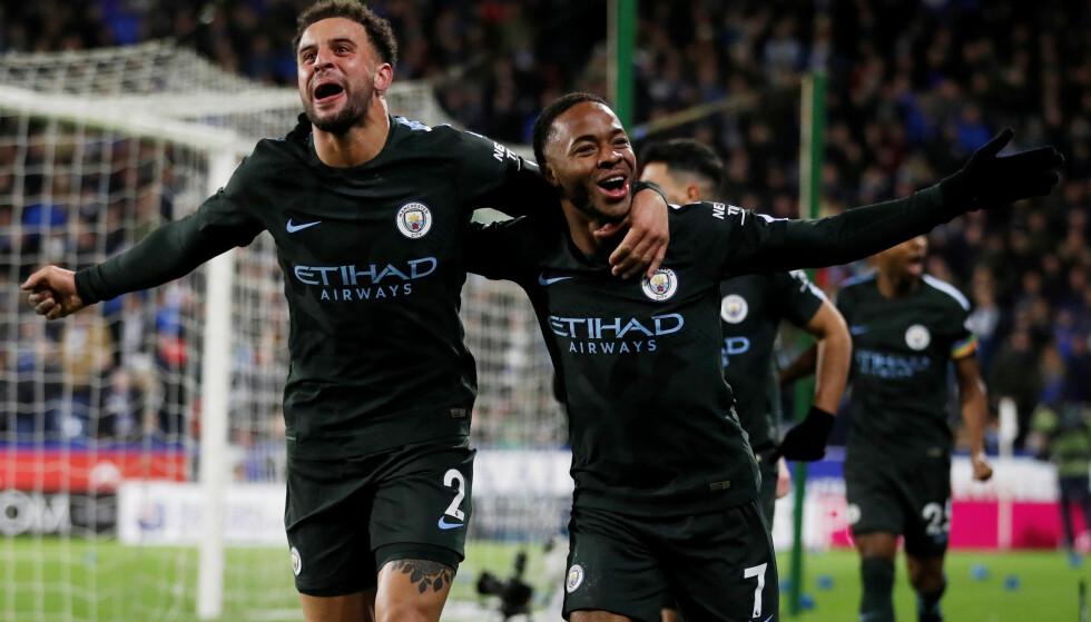 SEIRET: Manchester City virket å gå på poengtap borte mot Huddersfield, men i sluttminuttene sikret Raheem Sterling 2-1-seier for den engelske serielederen. Foto: NTB Scanpix