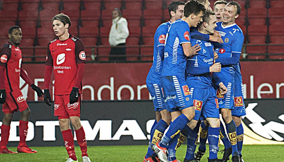 Bergen  20171126. 1-1 ved Tromsøs Kent-Are Antonsen  i Eliteseriekampen i fotball mellom Brann og Tromsø på Brann Stadion.  Foto: Marit Hommedal / NTB scanpix