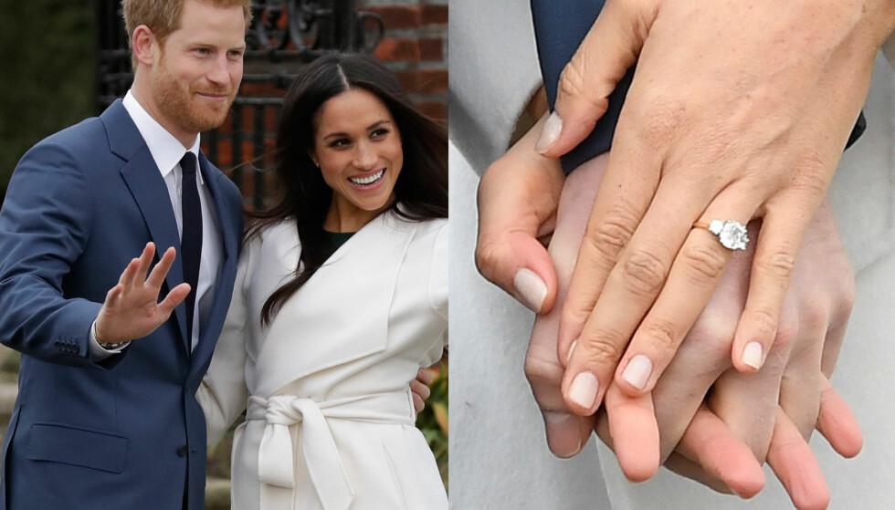 BLING: Prins Harry og Meghan Markle annonserte mandag forlovelsen sin. Ringen består av tre, store steiner, hvor to av dem kommer fra Dianas personlige smykkesamling. Foto: NTB scanpix