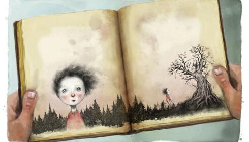 SLÅR AN: Lisa Aisatos illustrasjoner fra boka «Jenta som ville redde bøkene». Foto: Faksimile fra boka