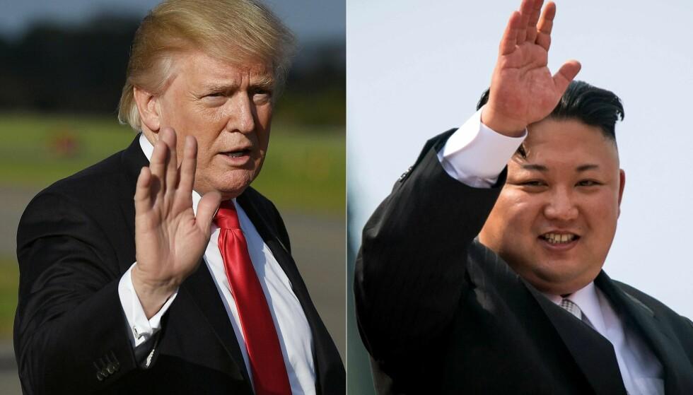 TRIGGER HVERANDRE: Ordkrigen mellom statslederne Donald Trump og Kim Jong-un skaper redsel. - Vi har to gale ledere som truer hverandre, sier Setsuko Thurlow, kvinnen som overlevde Hiroshima-bomben. 85-åringen tar imot Nobel-prisen på vegne av ICAN, innrømmer at hun er redd - fryktelig redd. Foto: AFP PHOTO / MANDEL NGAN AND ED JONES