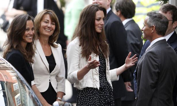 I FAMILIE: Gary Goldsmith er lillebroren til Carole Middleton (midten), samt onkelen til Pippa Middleton (t.v.) og hertuginne Kate. Foto: NTB Scanpix