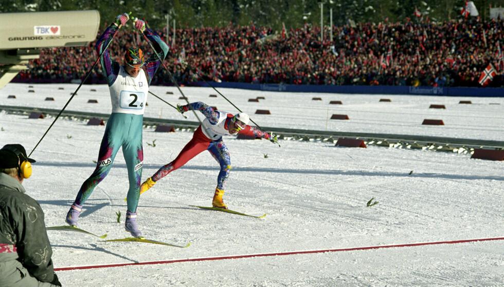 OL I -94: Italia går i mål foran Norge på stafetten under Lillehammer-OL. Foto: NTB SCANPIX