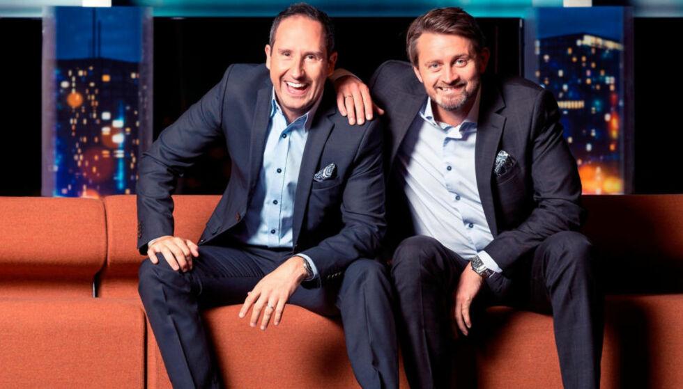 OVER: Thomas Numme og Harald Rønneberg har styrt et av TV 2s flaggskip i nesten 15 år. Neste vår går den siste sesongen av «Senkveld». Foto: TV 2