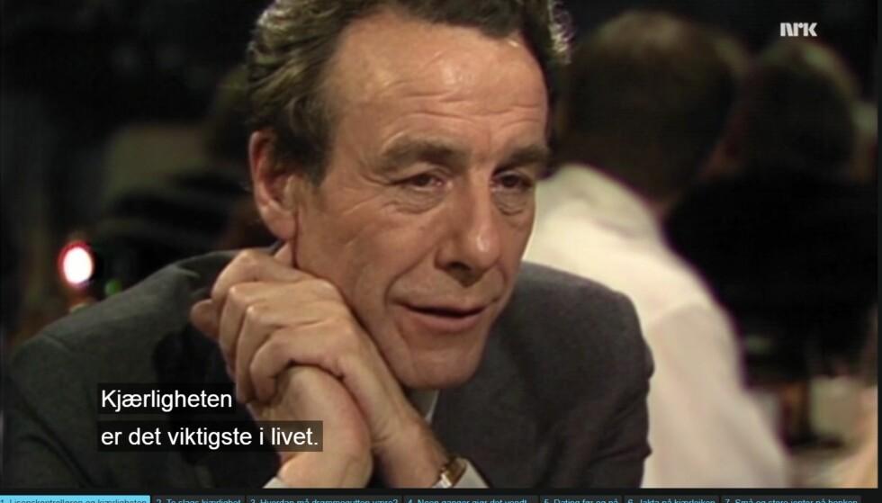 STORE ORD: For mange år siden snakket Reiulf Steen om kjærligheten på tv.  Faksimilie: NRK