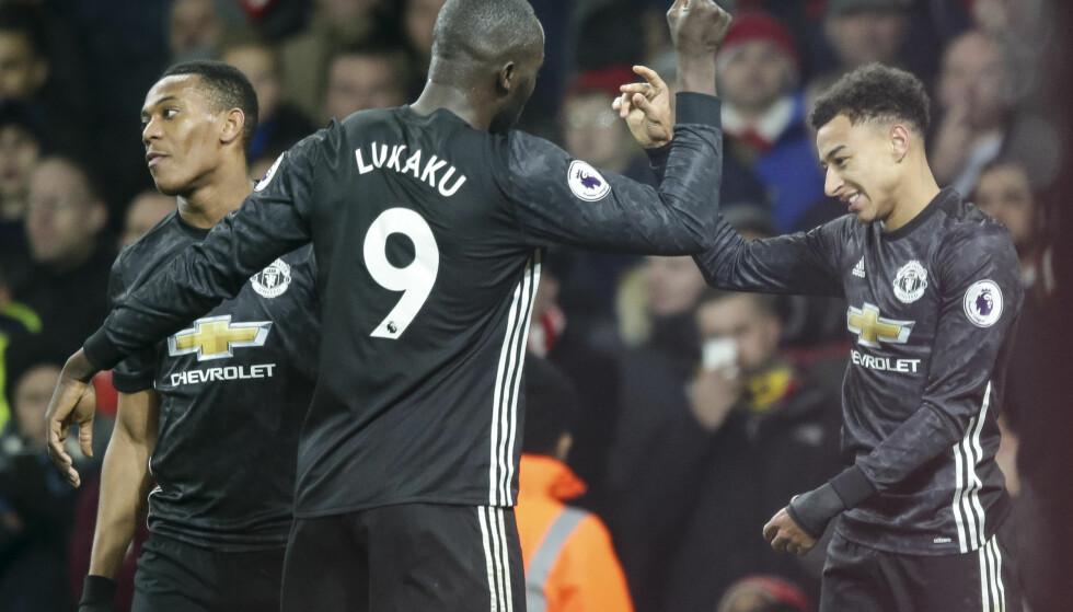 KONTRINGSSTYRKE: Anthony Martial, Romelu Lukaku og Jesse Lingard utførte Mourinhos plan til punkt og prikke da Manchester United slo Arsenal 3-1 på Emirates Stadium. Foto: DigitalSouthSHM/REX/Shutterstock/NTB Scanpix