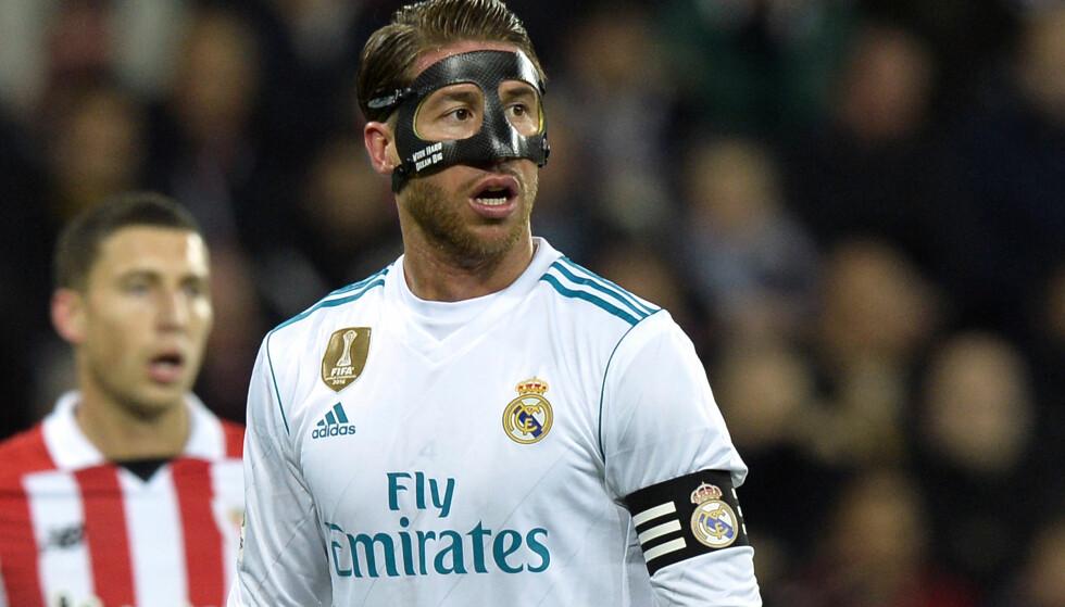 SÅ RØDT: Sergio Ramos ble utvist for en albue på tampen av Real Madrids 0-0-kamp mot Athletic. Foto: REUTERS/Vincent West/NTB Scanpix
