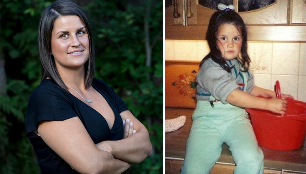 ELSKET Å BAKE: Sunniva Dortea Thorsen elsket å hjelpe moren sin med å bake da hun var liten. Bildet til høyre er tatt på kjøkkenbenken hjemme på Kleppelva i Bø .Foto: TV 2 / Privat