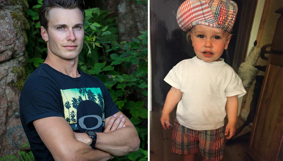 SØT MED SOMMERCAP: Trym husker ikke så mye rundt anledningen til bildet til høyre. Moren hans synes han var søt med sommercap. Foto: TV 2 / Privat