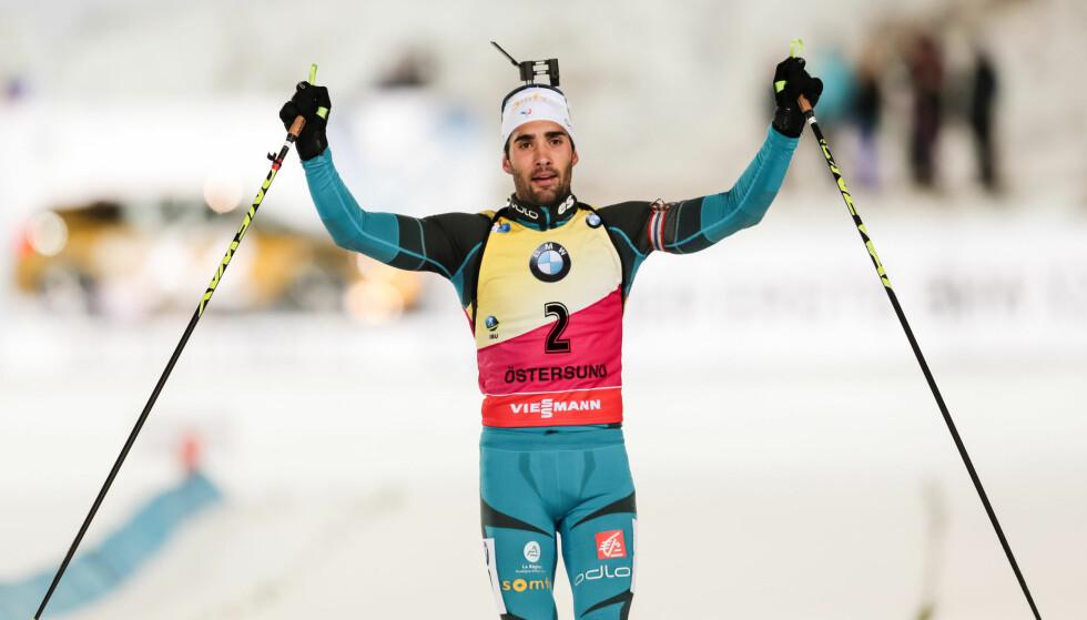 VANT: Martin Fourcade tok en overlegen seier i Östersund. Foto: TOBIAS NYKÄNEN/BILDBYRÅN