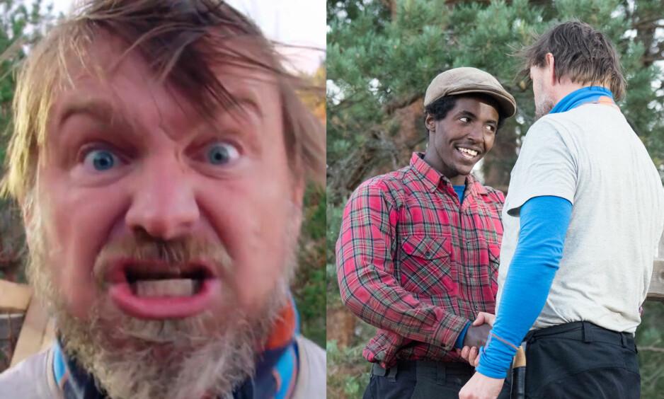 NERVEPIRRENDE: Kristian Krubel Djupnes (til høyre) måtte forlate «Farmen» etter tvekampen mot Halvor Sveen (47) i kveldens episode. Sistnevnte brøt ut i en ellevill jubelrus etter seieren. Foto: TV 2