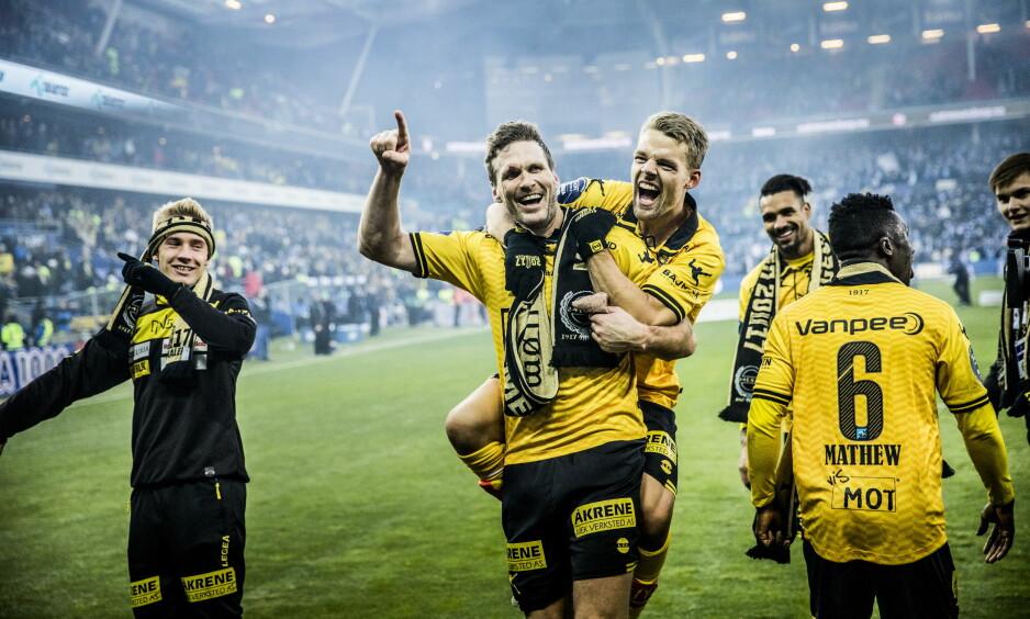 MÅLSCORERE: Frode Kippe og Mats Haakenstad (på ryggen til Kippe) scoret begge i 3-2-seieren mot Sarpsborg 08. Foto: Christian Roth Christensen / Dagbladet