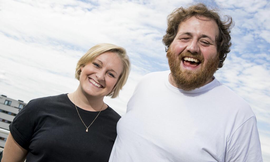 BLIR SAMBOERE: P3-programlederne Tuva Fellman og Ronny Brede Aase blir samboere i Oslo etter fem år i avstandsforhold. Her var paret under NRKs presentasjon av høstens TV-programmer i sommer.  Foto: Håkon Mosvold Larsen / NTB scanpix