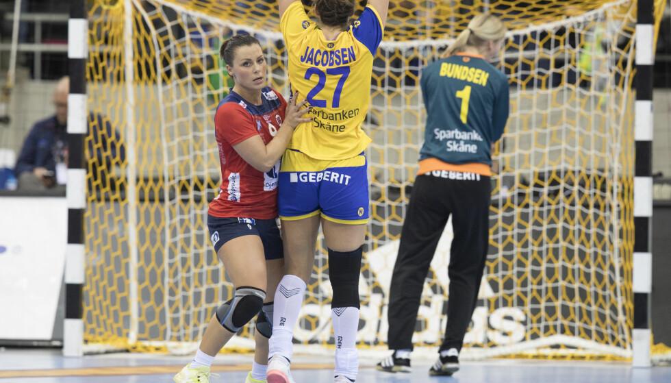 SKUFFET: Nora Mørk og Norge tapte mot Sverige i EgeTrans arena fredag. Foto: Vidar Ruud / NTB scanpix