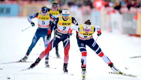 NUMMER TO: Maiken Caspersen Falla greide ikke å henge med da Stina Nilsson rykket til i den siste bakken. Foto: Bildbyrån
