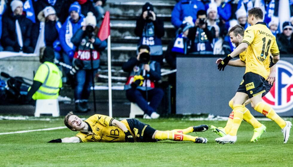 FIKK KRITIKK: Simen Kind Mikalsen scoret det første målet i cupfinalen mot Sarpsborg. Det skulle ha vært annulert. Foto. Christian Roth Christensen / Dagbladet