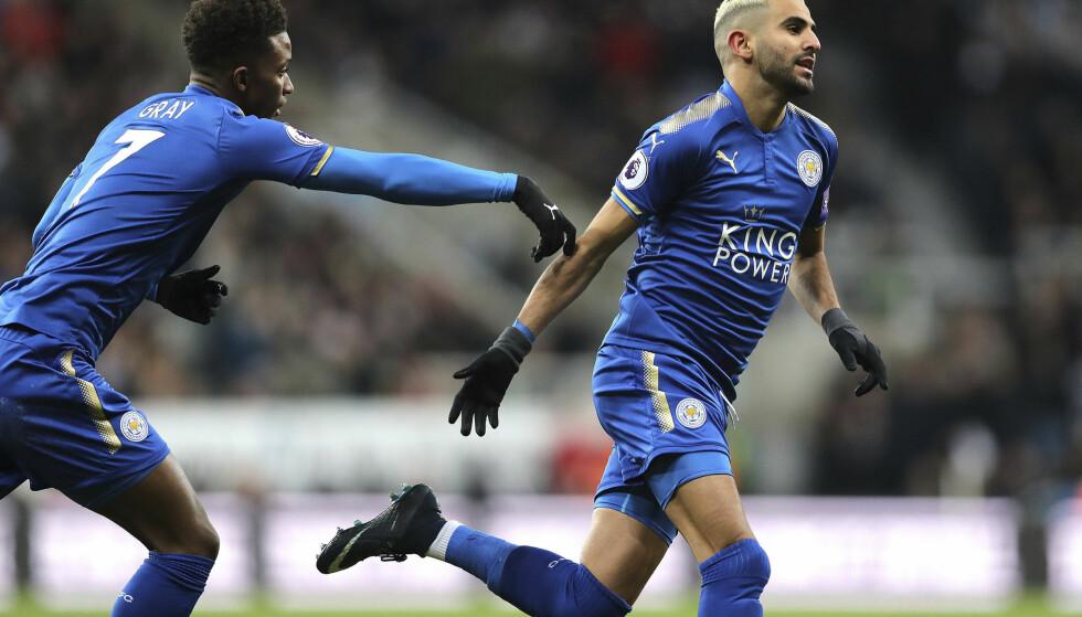 HERJET: Riyad Mahrez var involvert i to mål mot Huddersfield. Foto: Owen Humphreys/PA via AP