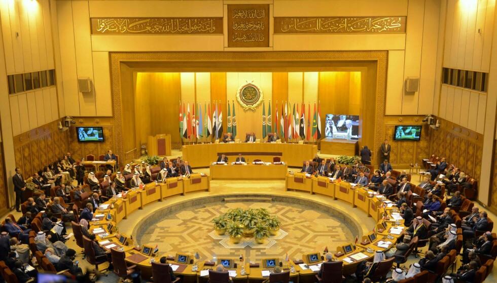 KRISEMØTE: Den arabiske liga hadde lørdag krisemøte om Donald Trumps beslutning om å flytte den amerikanske ambassaden fra Tel Aviv til Jerusalem i Israel. Ligaen kritiserte den amerikanske presidenten. Foto: AFP / NTB scanpix