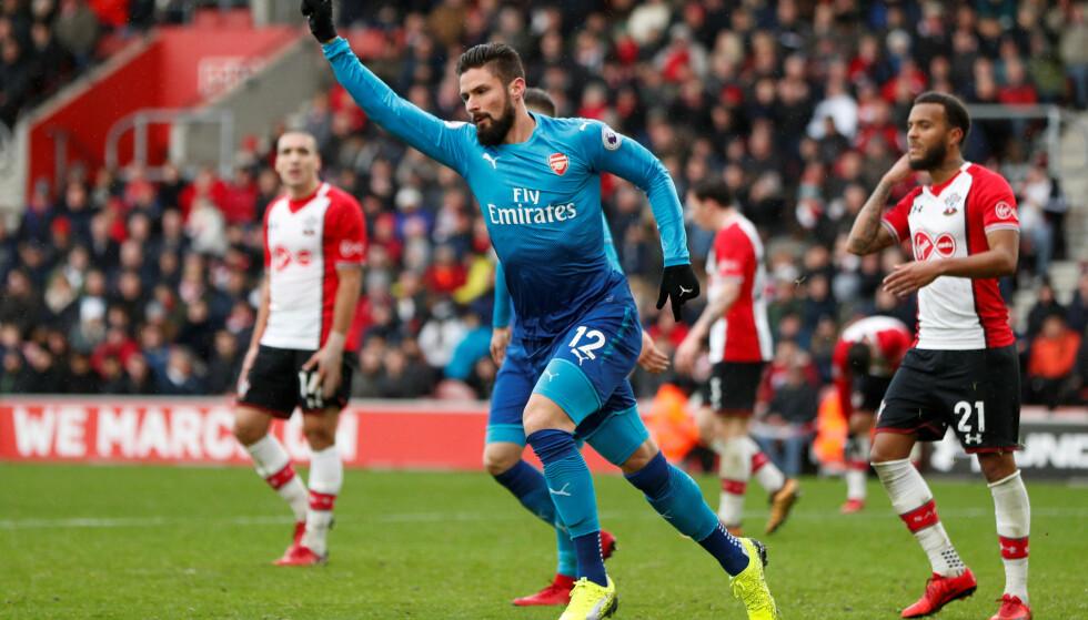 MÅL: Olivier Giroud kunne juble for scoring, men det ene poenget vil være skuffende for Arsenal. Foto: Reuters/John Sibley