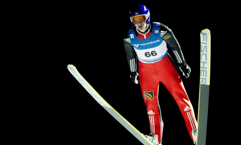VIL DELTA: Den russiske hopperen Denis Kornilov skal være blant utøverne som har gitt uttrykk for at han vil delta under det olympiske flagget. Foto: Geir Olsen / Scanpix