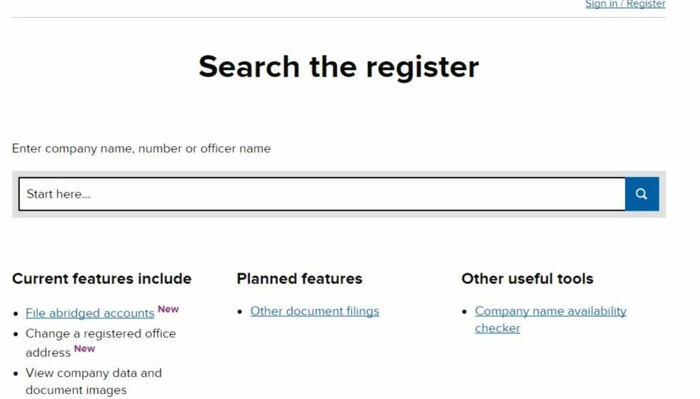 ÅPENT REGISTER: På dette nettstedet har britiske myndigheter publisert personer med næringsforbud. Man kan blant annet sjekke når de mistet rett til å drive firma, og hvorfor. Foto: Skjermdump/Companies House.