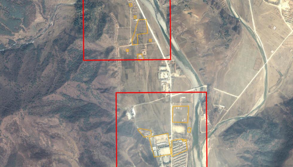 «LEIR 15»: Dette satellittbildet fra 2011 viser ifølge Amnesty International «Politisk fengsel leir 15» (PPC15) i det sentrale Nord-Korea. Foto: AFP/Amnesty International/Digitalglobe