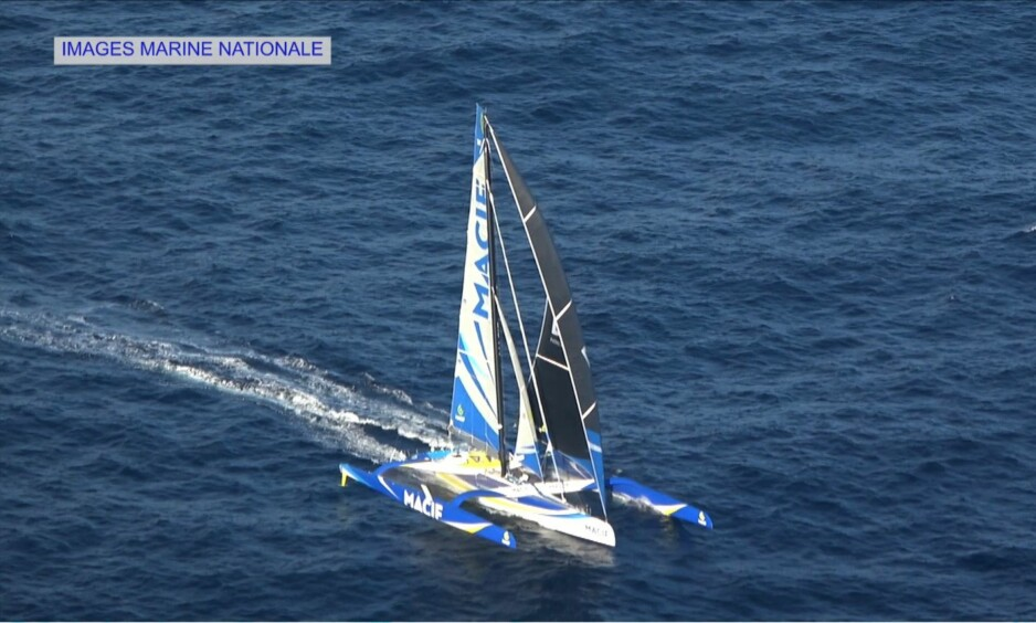 """This screen grab taken on December 16, 2017 from a French Marine Nationale video shows France's skipper Francois Gabart's MACIF trimaran sailing. François Gabart is on track to complete his single-handed round the world at the end of the week, after less than 45 days at sea. / AFP PHOTO / French Marine Nationale / HO / RESTRICTED TO EDITORIAL USE - MANDATORY CREDIT """"AFP PHOTO / SOURCE / BYLINE"""" - NO MARKETING NO ADVERTISING CAMPAIGNS - DISTRIBUTED AS A SERVICE TO CLIENTS NO RESALE"""