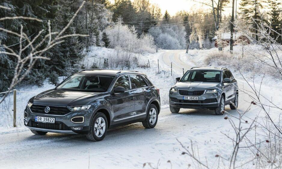 SKARP KONKURRANSE: Volkswagen og Skoda velger forskjellig taktikk for å nå kunder i kompaktsegmentet. T-Roc er en sportslig crossover med litt begrenset plass, mens Skoda ikke tar noen sjanser med Karoq. Den er passe stor og har mange fleksible løsninger.