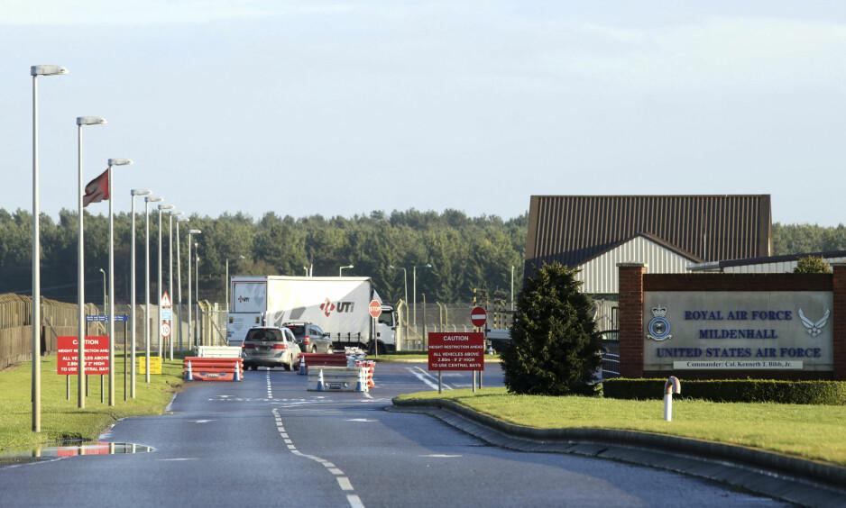 LOCKDOWN: Den amerikanske militærbasen RAF Mildenhall i England ble stengt mandag, etter det som beskrives som en sikkerhetshendelse. Foto: Chris Radburn/PA File, via AP