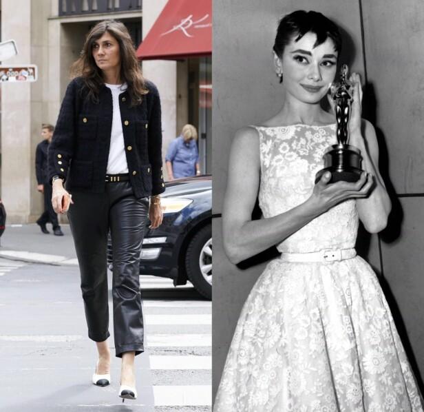 TREKKES FRAM: Emmanuelle Alt og Audrey Hepburn er blant kvinnene som Meghan Markle tidligere har trukket fram som sine stilikon. Får vi se den kommende hertuginnen i en kjole a la denne Givenchy-kreasjonen Hepburn har på seg her? Foto: NTB scanpix
