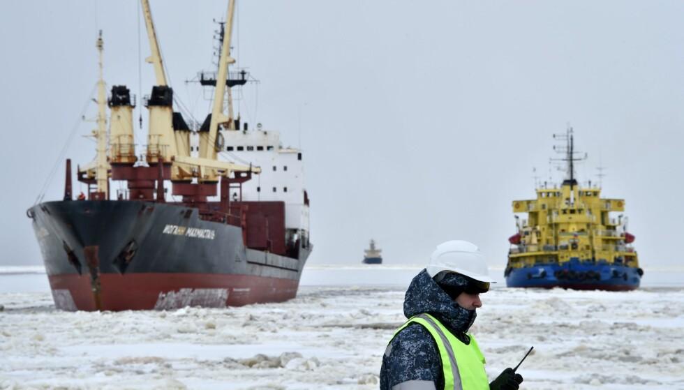 ATOMKIRKEGÅRD: Dette bildet viser en isbryter utenfor Sabette ved Karahavet i 2016.Foto KIRILL KUDRYAVTSEV/AFP/NTB Scanpix