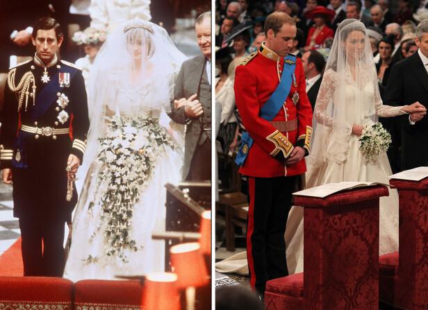 FORGJENGERNE: Prinsesse Diana og hertuginne Kate brukte begge kjoler signert britiske designere da de gikk ned alteret. Nå blir spørsmålet om Meghan Markle følger etter. Foto: AFP, NTB scanpix