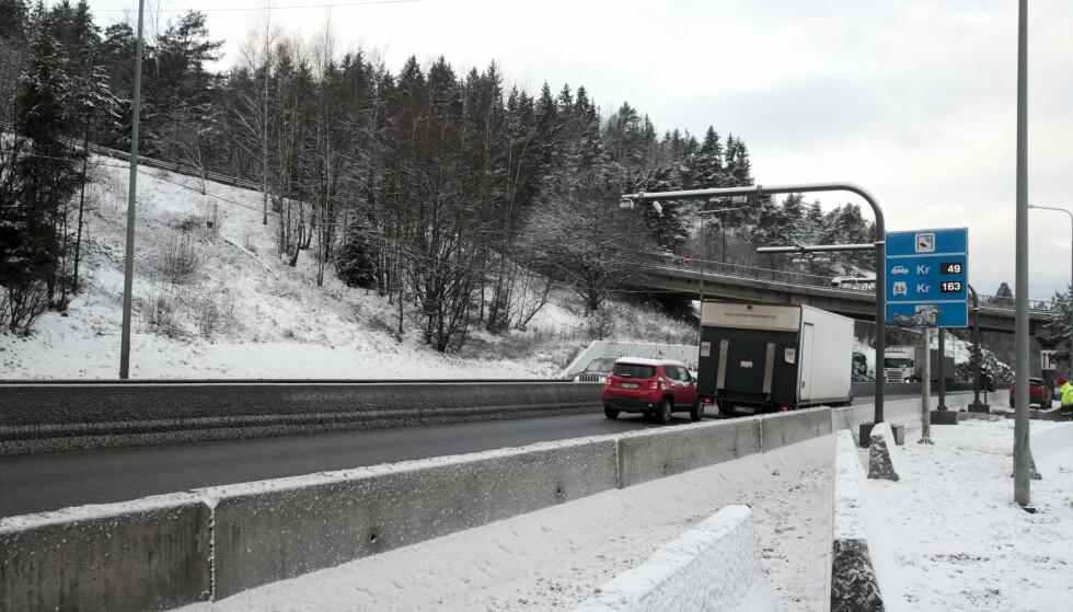 Abildsø: På Abildsø plasseres bomstasjon. OR19 på E6 rett sør for brua med Lambertseterveien. Foto: Lise Åserud / NTB scanpix