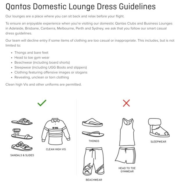 REGLENE: Slik ser dresskoden til Qantas-loungene ut. Sandaler er ok, dyre Ugg-støvler ikke. Skjermdump: Qantas