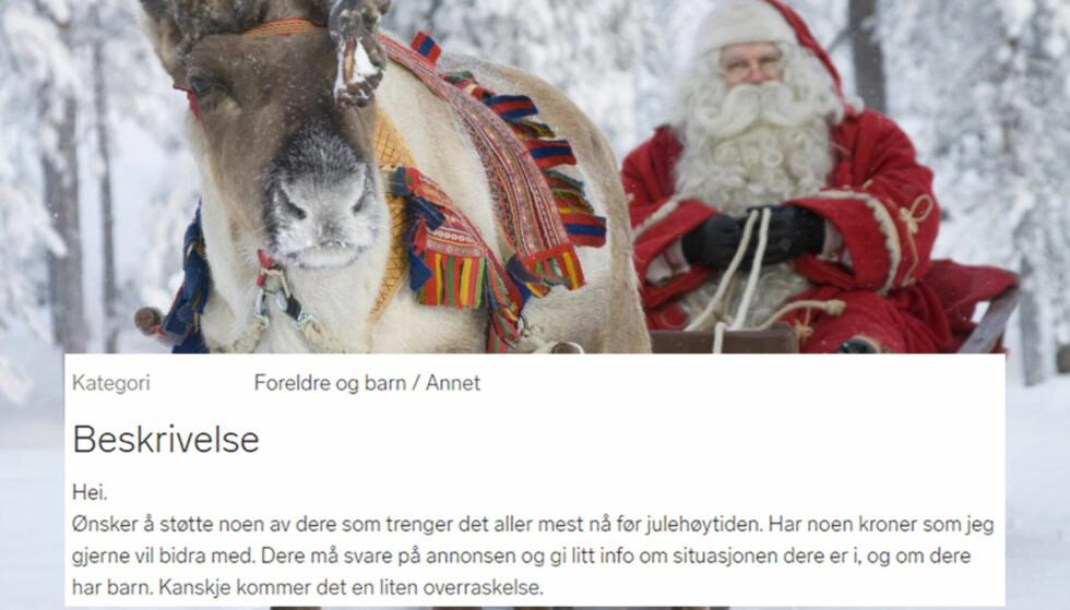 ANONYM: Den anonyme mannen som satt inn annonsen på Finn har fått mange henvendelser i jula. Foto: Scanpix