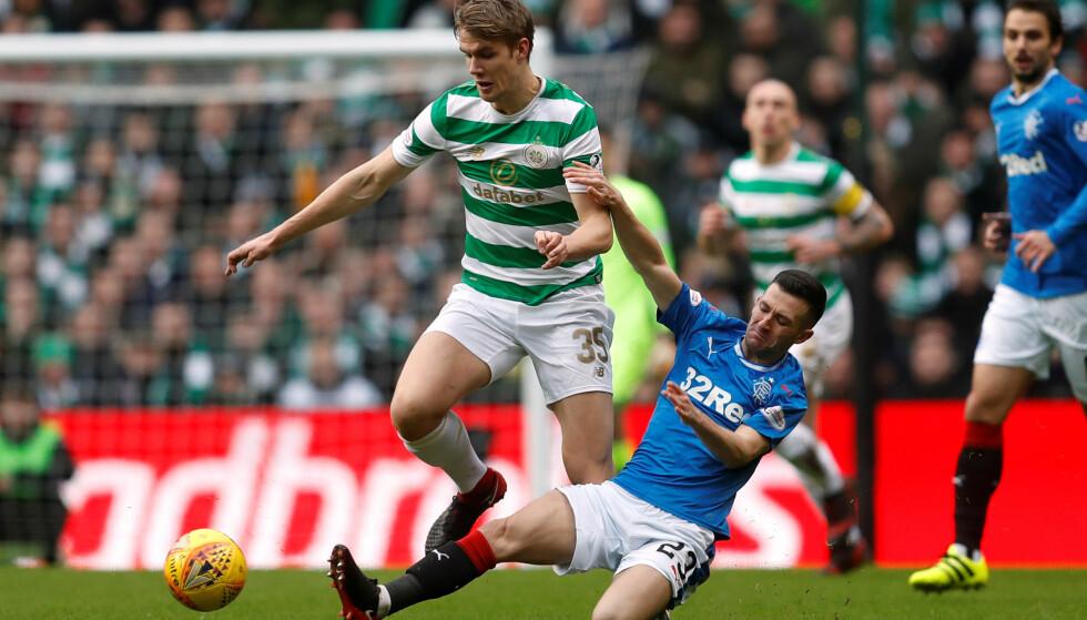 LOVENDE: Kristoffer Ajer er i ferd med å etablere seg på førstelaget til Skottlands beste lag, Celtic. Det kan åpne døren for spill på Norges A-landslag. Foto: REUTERS/Russell Cheyne