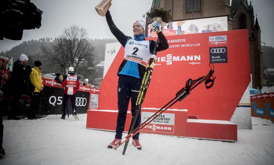 TIL TOPPS: Eirik Brandsdal, her etter seieren i Drammen i fjor, jublet for seier i Piteå i dag. Foto: Bjørn Langsem / Dagbladet