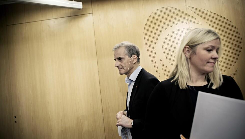 I dyp krise: Generalsekretær Kjersti Stenseng og partileder Jonas Gahr Støre i Arbeiderpartiet.