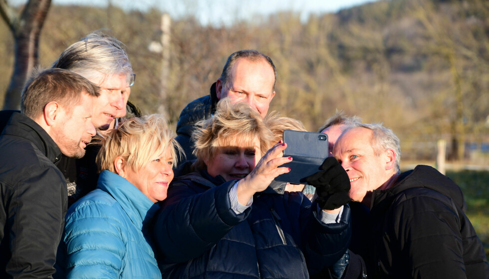 KVINNEDOMINANS: I regjeringsforhandlingene på Jeløya har kvinner vært ledere, men i jussen er makt fortsatt kjønnsløst. Foto: Lennart Pettersen / Høyre / NTB scanpix