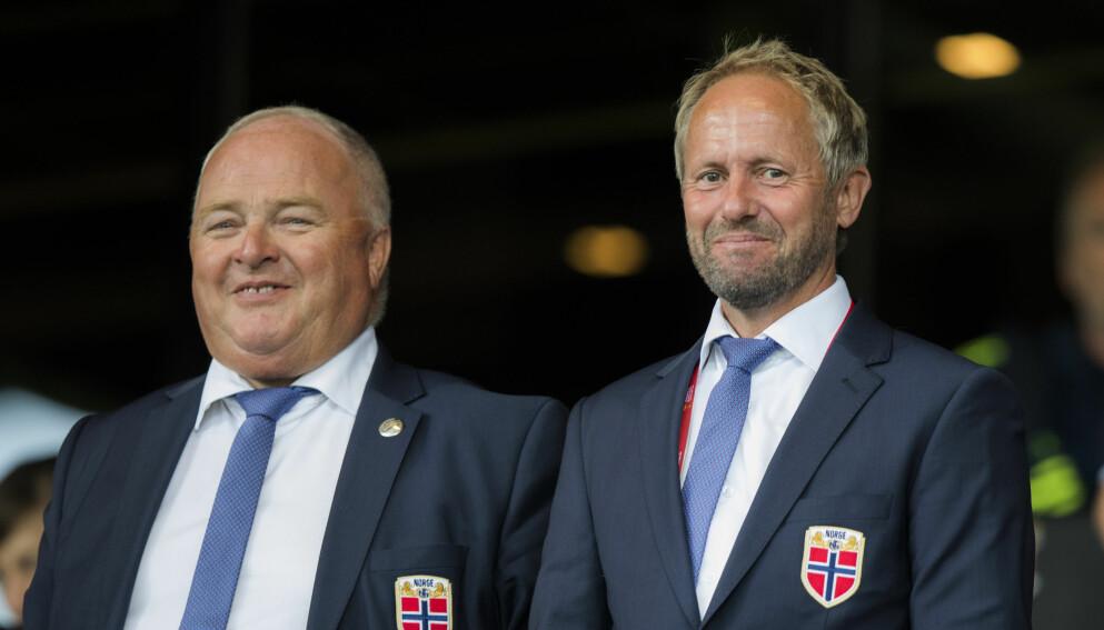 MEKTIGE: Generalsekretær i Norges Fotballforbund Pål Bjerketvedt og fotballpresident Terje Svendsen er to av de med mest makt i Fotball-Norge. Foto: NTB