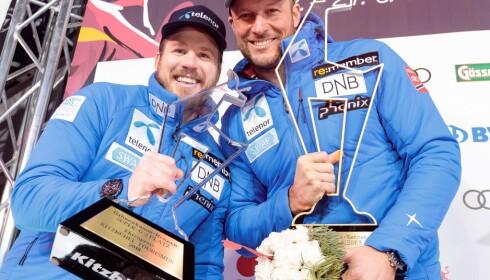 LAGKOMPIER OG KONKURRENTER: Aksel Lund Svindal trakk det lengste strået i årets Super-G-renn i Kitzbühel. Jansrud vant til slutt Super-G-cupen sammenlagt. Foto: Johann Groder/AFP