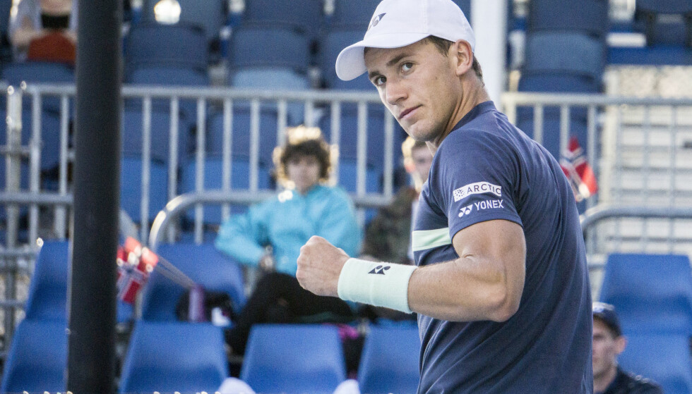 SEIER: Casper Ruud vant sin kamp i Davis Cup lørdag. Her fra Australian Open tidligere i år. Foto: Lars Eide / NTB scanpix