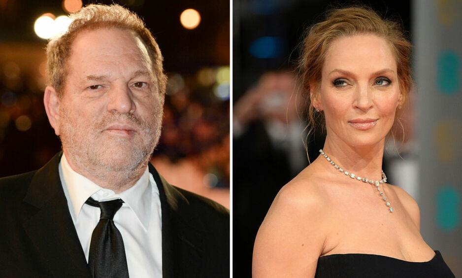 SNAKKER UT: Filmstjerna Uma Thurman hevder at filmprodusent Harvey Weinstein presset seg på henne på et hotellrom i London. Foto: NTB scanpix